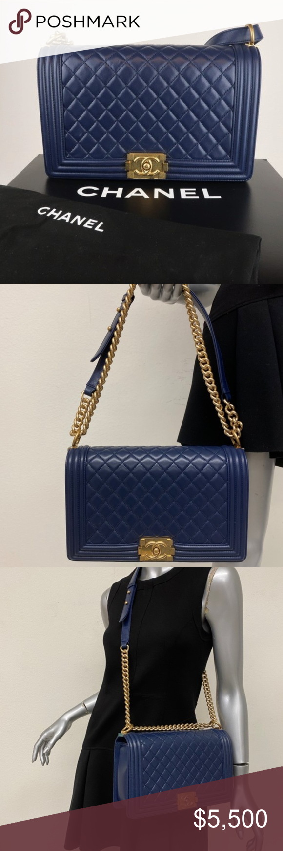 Spotted while shopping on Poshmark: Chanel New Medium Boy Bag Navy Quilted Calfskin! #poshmark #fashion #shopping #style #CHANEL #Handbags