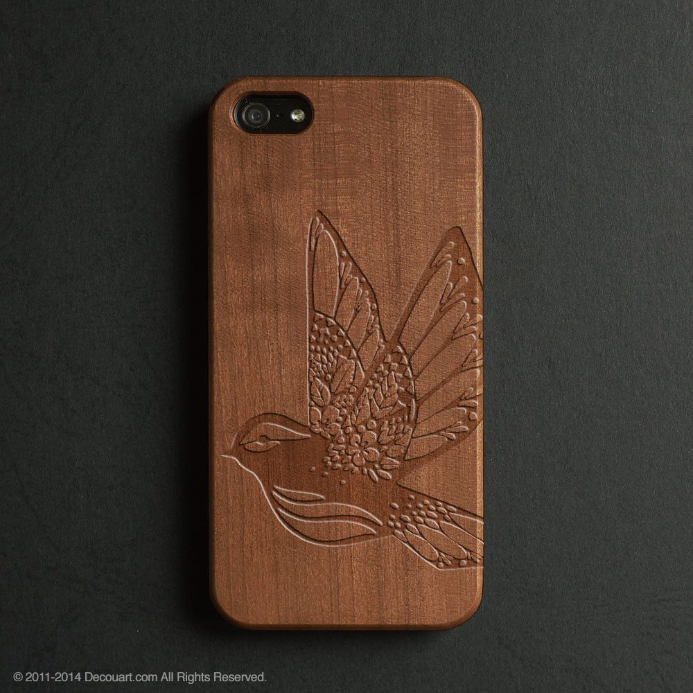 Real wood engraved bird pattern iPhone case S038