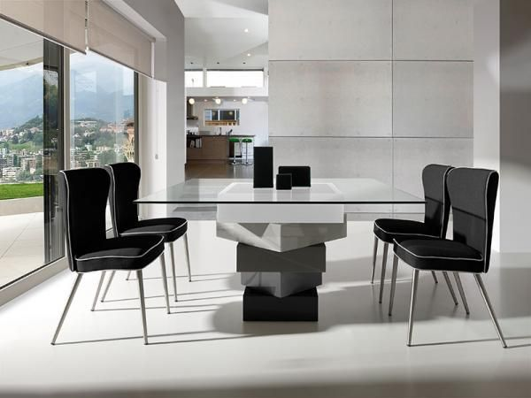 Contemporary Bob Dining Table In Glass And High Gloss Cream Or Stunning High Gloss Dining Room Furniture Design Decoration