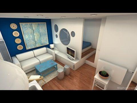 Minipiso 25m2 youtube mini casa pinterest for Decoracion de mini apartamentos