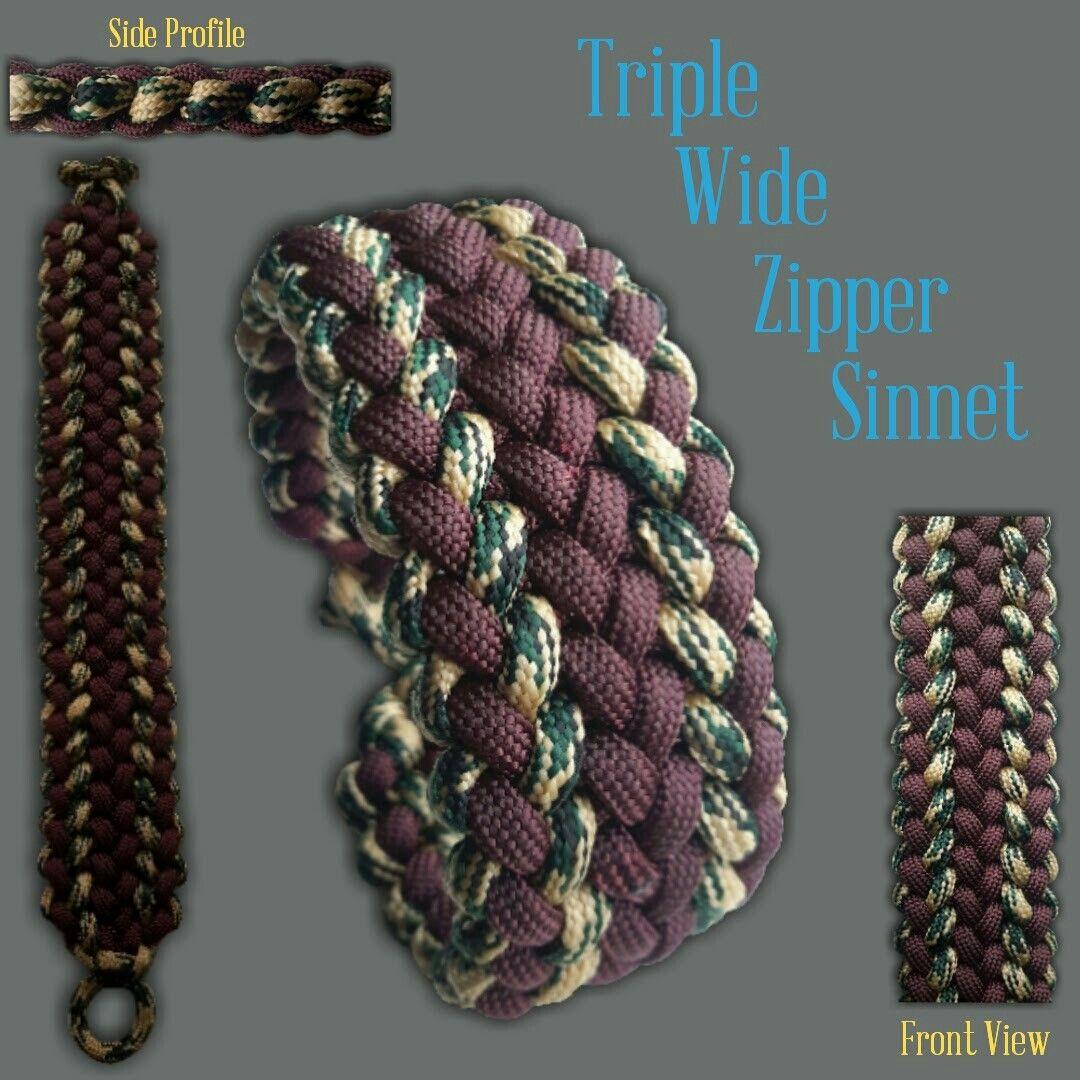 Triple Wide Zipper Sinnet Paracord Bracelet Designs Paracord