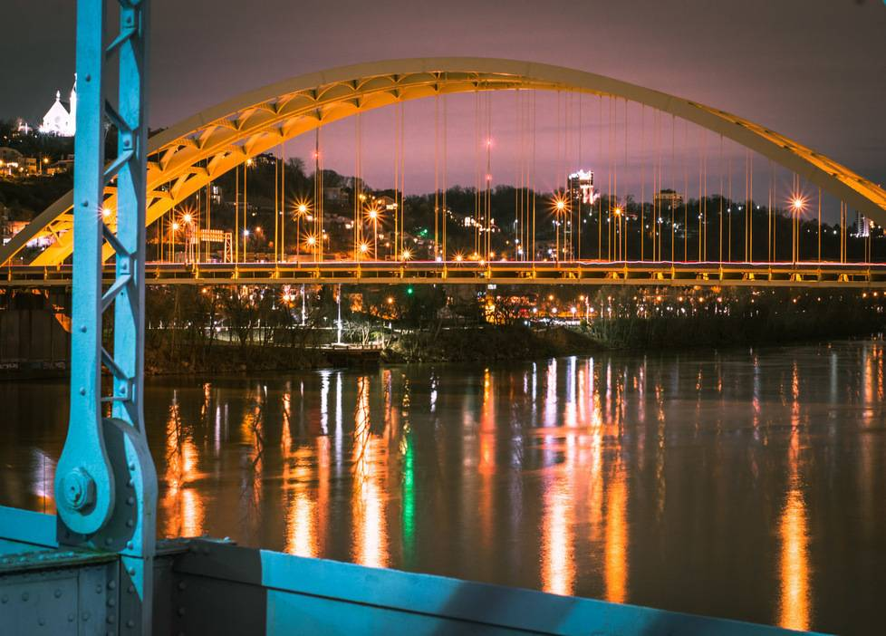 gorgeous view of cincinnati through the big mac bridge from the