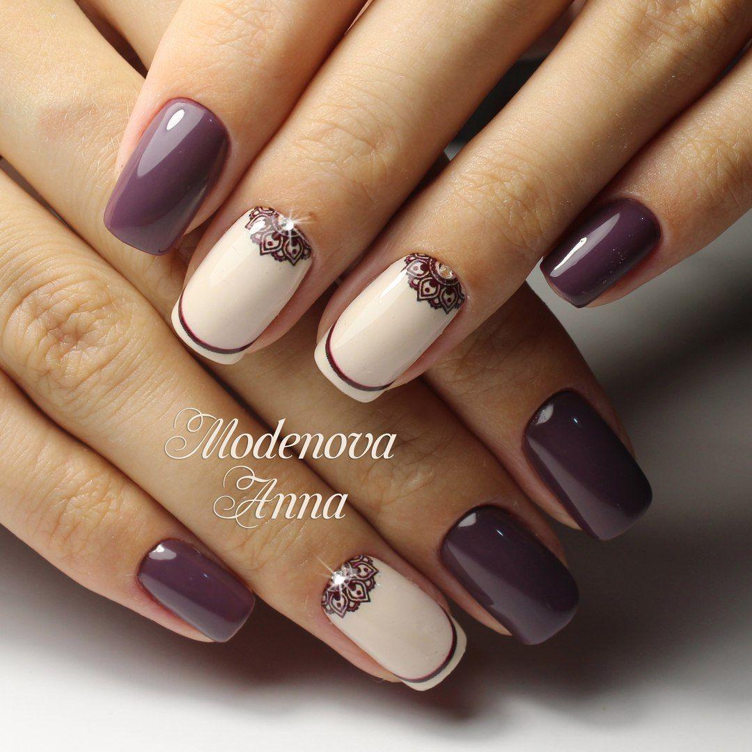 Uñasdecoradas Moradas Con Fecha дизайн ногтей Uñas Pinterest