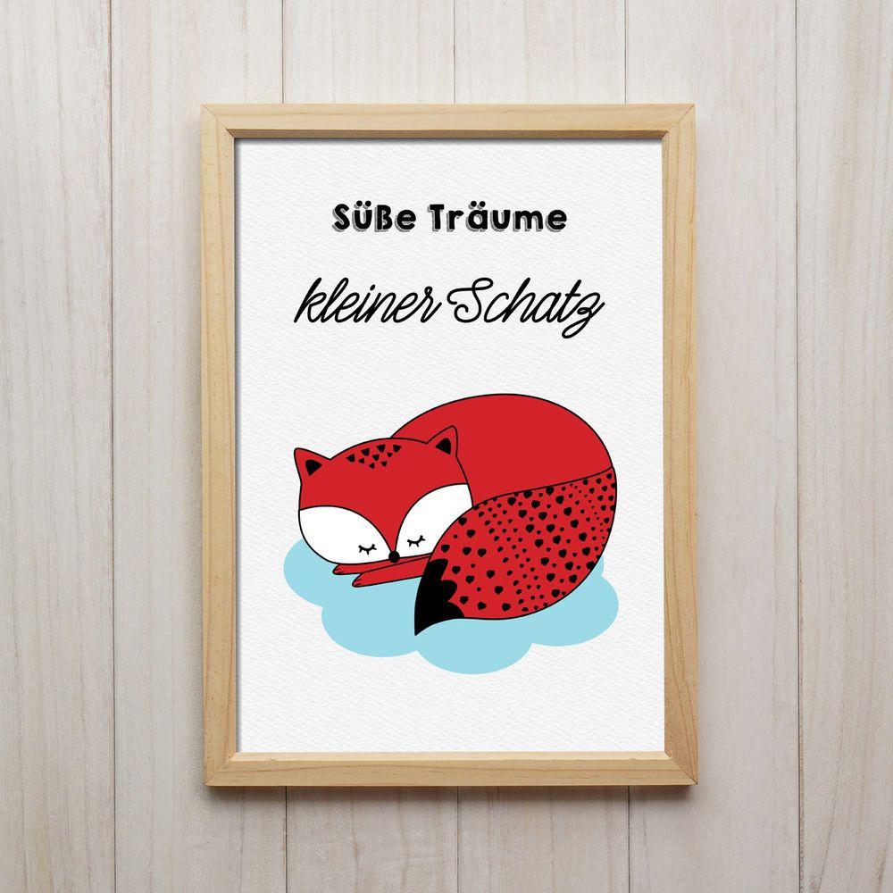 Fuchs Süße Träume Kunstdruck DIN A4 Spruch Bild Druck Kinderzimmer ...
