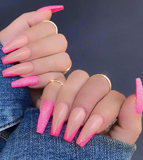 52 Luxury Coffin French Tip Nail Designs Ombre Acrylic Nails Long Acrylic Nails Pink Acrylic Nails