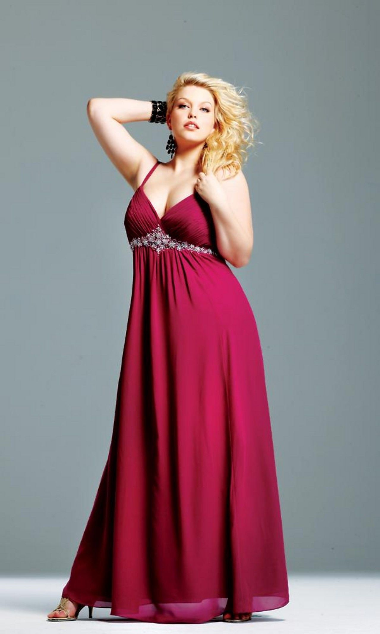 Floor Length Chiffon Beaded Plus Size Prom Dress | Wedding Vows ...