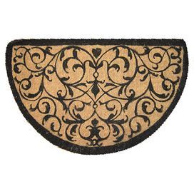 """Crafted of natural fiber, this handmade doormat showcases a scrolling motif for classic style.   Product: DoormatConstruction Material: Natural fiberColor: Natural and blackFeatures:  Permanent fade-resistant dyesWovenDimensions: 18"""" x 30"""""""