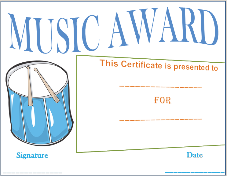 Drumbeat award certificate template award certificate templates this drumbeat award certificate template can be used as a music award given to band members or for a solo performer it is easily customizable and editable yadclub Images