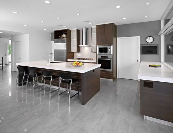 Modern kitchen design ideas with white charcoal kitchen color scheme and bar stools shades of - Modern kitchen color combinations ...