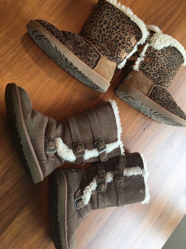 b41085b8261 UGG preowned Girls Youth Bailey Bow leopard Boots & tall Chestnut 2 ...