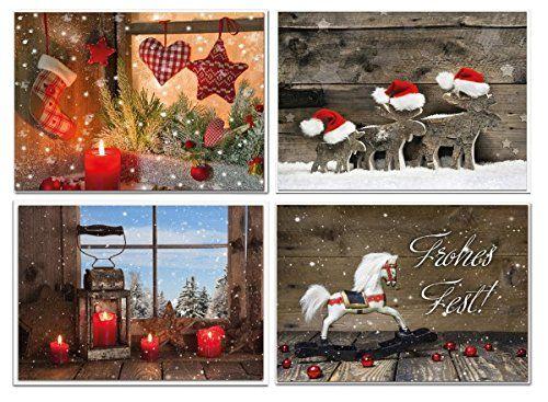 Weihnachtskarten Set Günstig.4 Stück Weihnachtskarten Foto Motive Set Klappkarten Foto Motive Rot