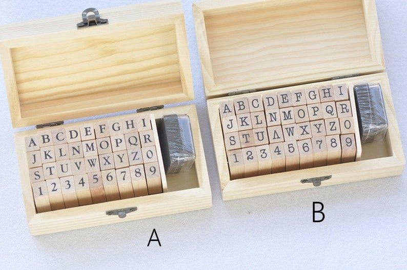 36pcs Rubber Stamp Blocks Set Alphabet And Number A Z And 0 9 Etsy Stamp Blocks Alphabet Stamps Letter Stamps