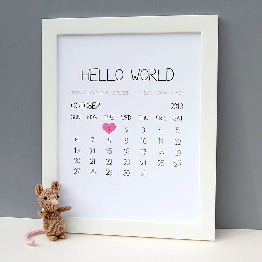 Personalised baby birth date print newborn baby gifts birth and personalised baby birth date print gifts for newborn negle Choice Image