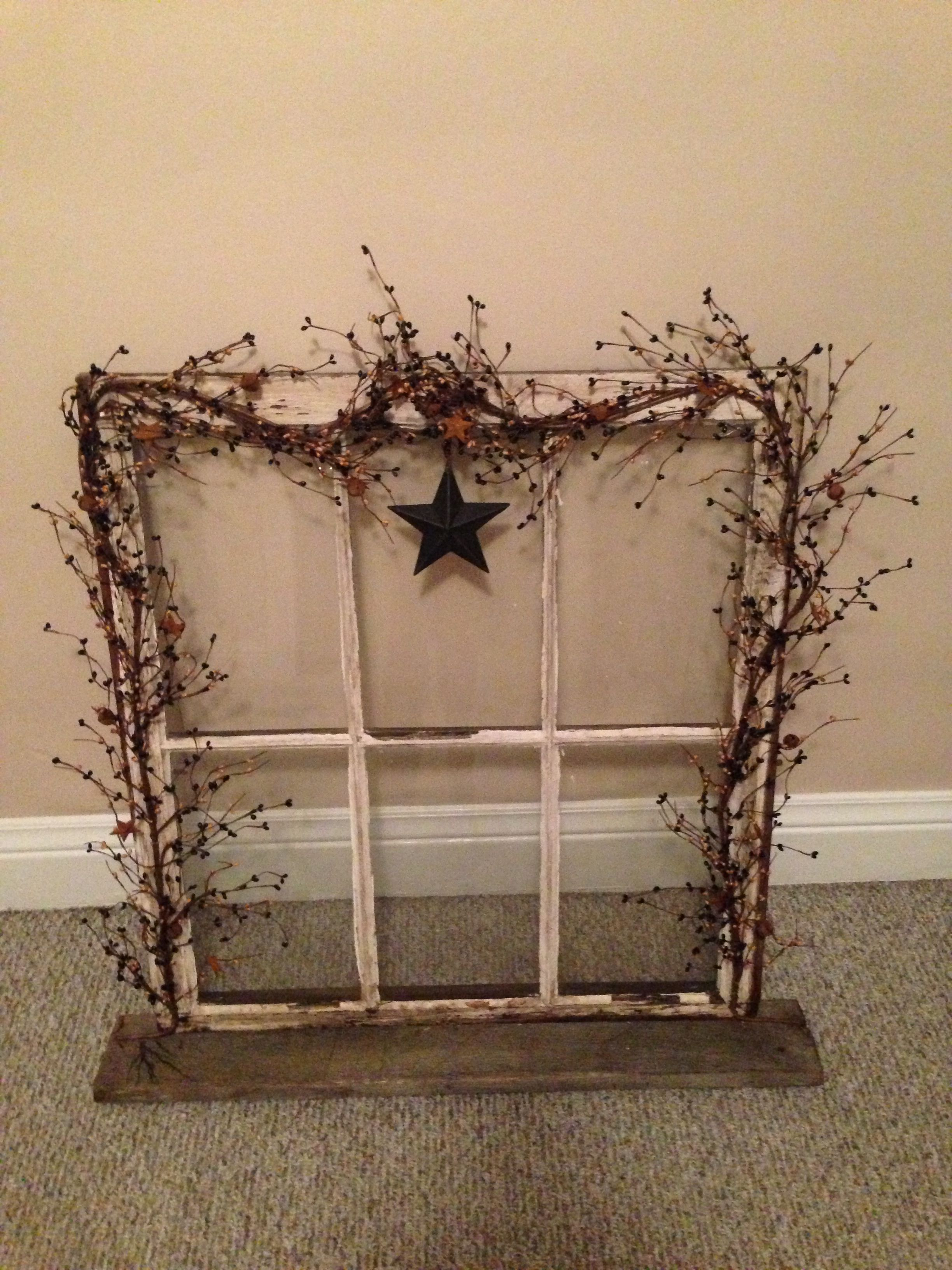 Pin By Dawn Choquette On Diy Primitive Decorating Country Old Window Decor Window Frame Decor