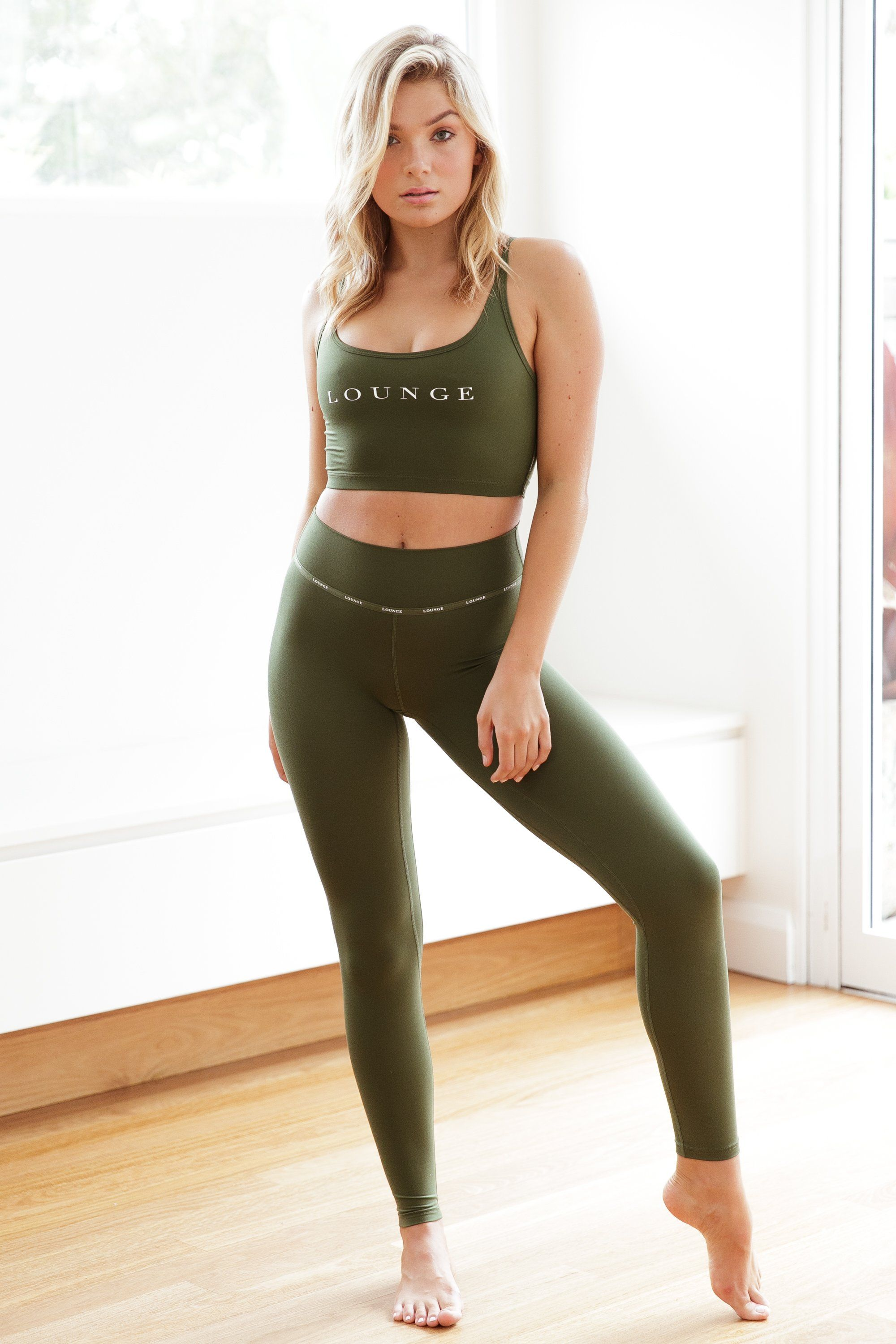 a818d68f463554 Minimal Forest Green Cropped Top & High Waisted Leggings Set Lounge  Underwear, Sports Leggings,