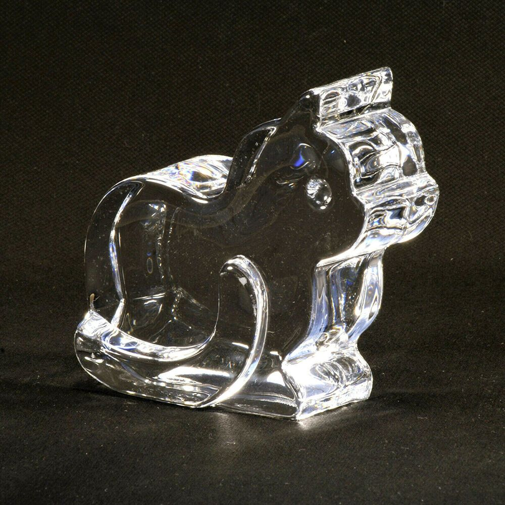 Orrefors Clear Crystal Art Glass Cat Figurine Paperweight