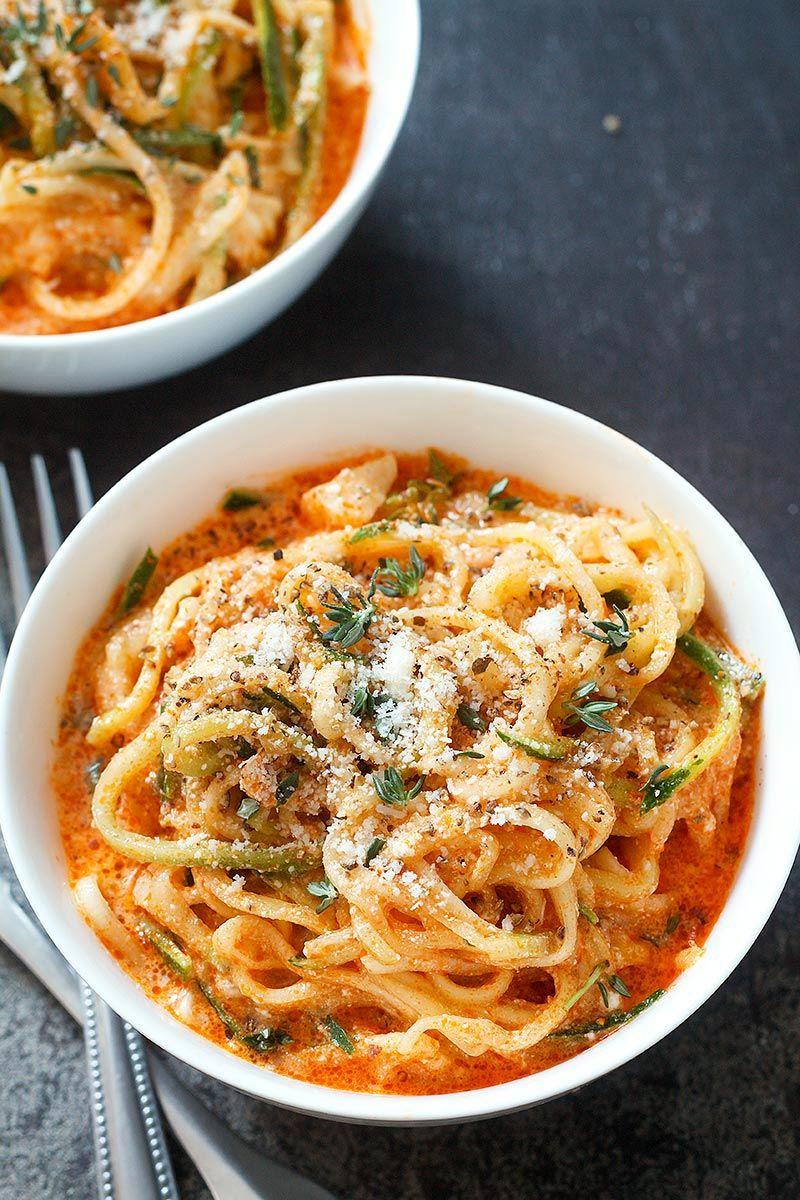 Zucchini Noodles in Creamy Tomato Sauce