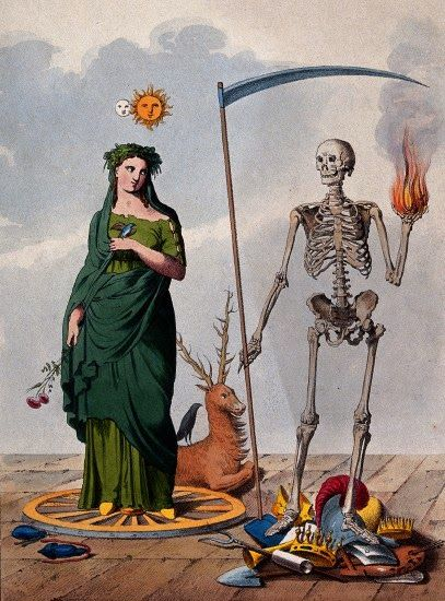 Two allegorical figures: a skeleton holding a scythe and a ball of ...