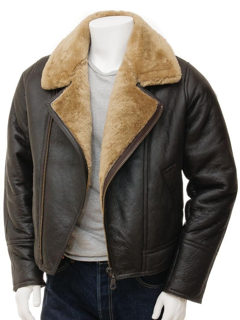 Men Vintage Brown Leather Jacket Comfortable And Warm Vogue Etsy Leather Jacket Men Sheepskin Jacket Mens Jackets [ 1059 x 794 Pixel ]