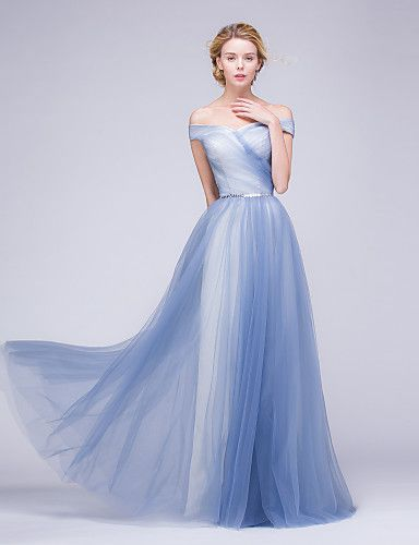 Formal Evening Dress A-line Off-the-shoulder Floor-length Tulle with ...