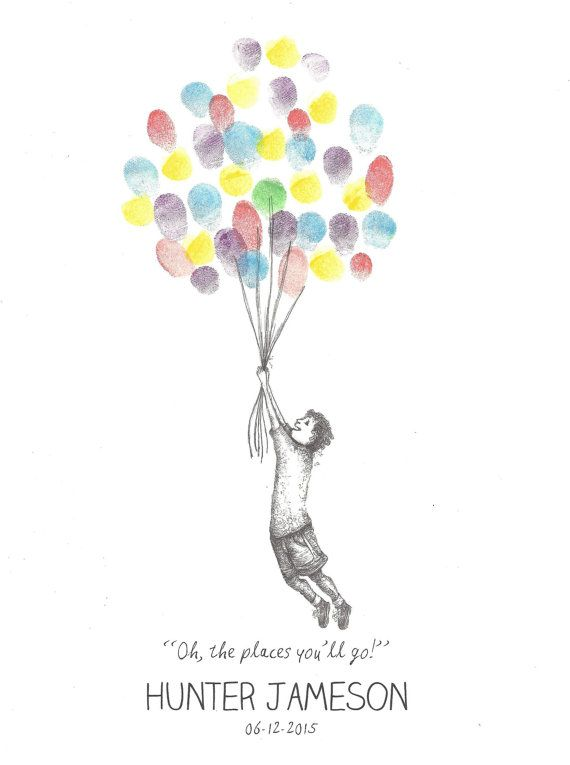 Boy Being Lifted By Balloons Finger Print Guest Book Graduation