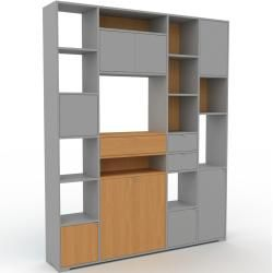 Photo of Wohnwand Eiche – Individuelle Designer-Regalwand: Schubladen in Grau & Türen in Grau – Hochwertige M
