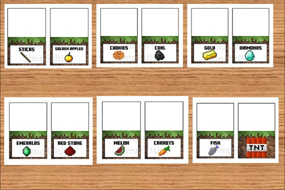 Free Download Minecraft Food Card Tents