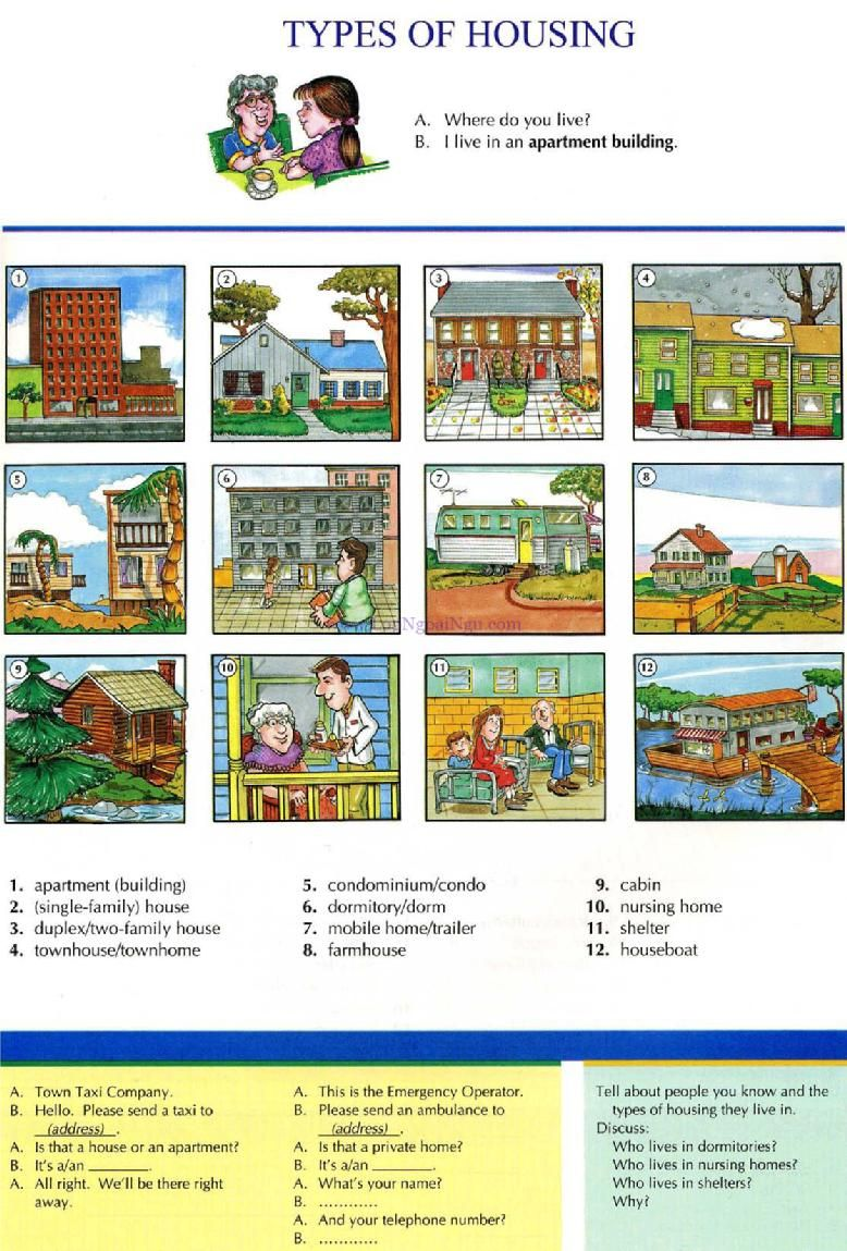 9 types of housing pictures dictionary english study explanations free exercises
