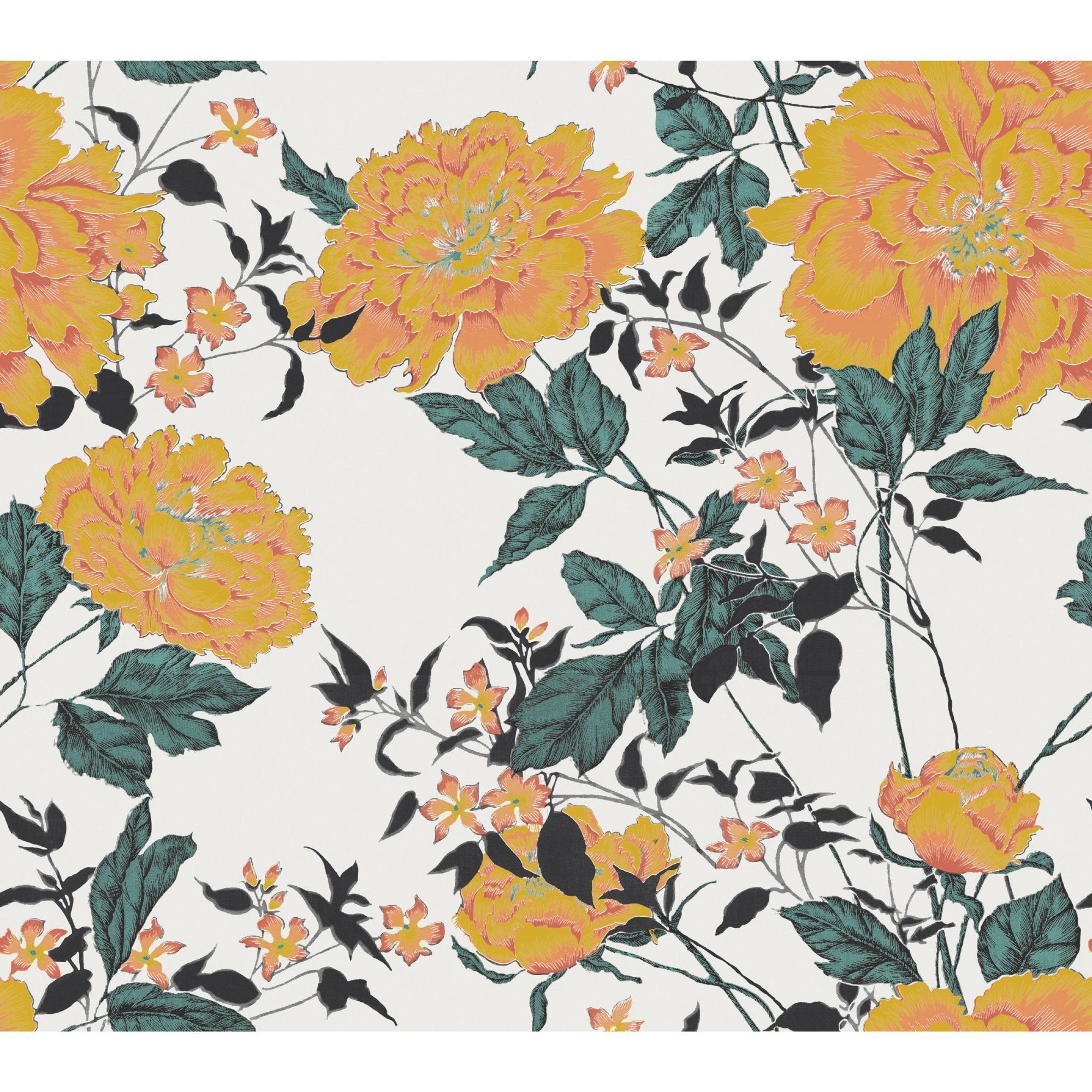 Yellow Vintage Floral Peel And Stick Wallpaper By Drew Barrymore Flower Home Walmart Com Peel And Stick Wallpaper Wallpaper Vintage Floral