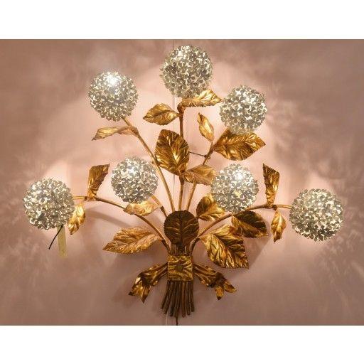 Moody US 1950s gilded brass hydrangea wall light