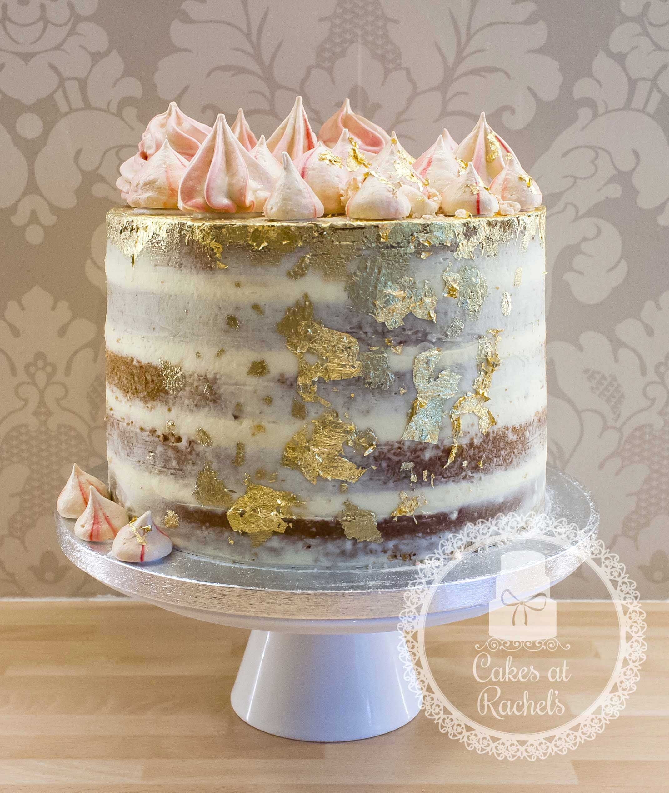 Semi naked cake - Edible gold leaf - homemade meringues - celebration - birthday - Blackpool - Cakes at Rachel's - see more at www.facebook.com/Cakes.at.Rachels