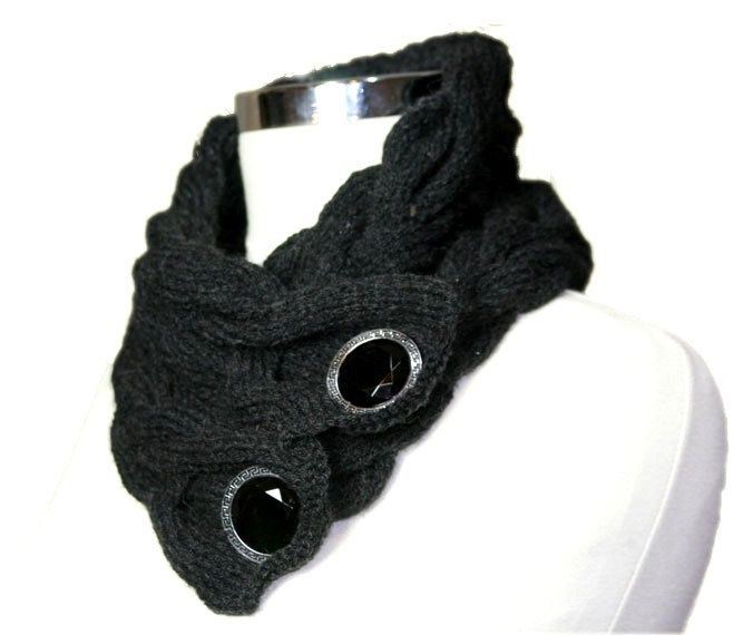 Charcoal Grey Neck Warmer Scarf Cable Knit with ... | elfsacks