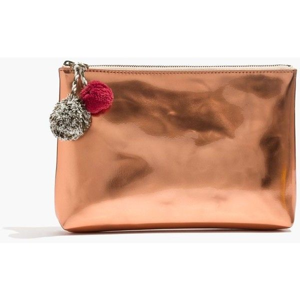 MADEWELL Small Pom-Pom Zip Pouch ( 15) ❤ liked on Polyvore featuring bags,  handbags, clutches, rose gold metallic, tablet tote, red tote handbags, ... 66905ef53e