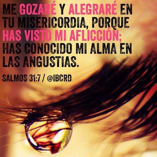 Me gozaré y alegraré en tu misericordia, Porque has visto mi aflicción; Has conocido mi alma en las angustias