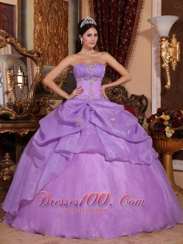 9d7c2c2828c Puffy New Lavender Quinceanera Dress Strapless Organza Beading Ball Gown -  US 219.69