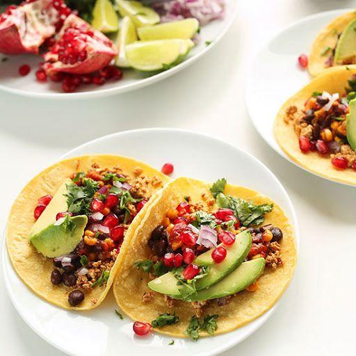 Easy Vegan Breakfast Tacos With Firm Tofu, Black Beans, Red Onion, Fresh Cilantro, Avocado, Salsa, Lime, Pomegranate Seeds, Corn Tortillas, Garlic Powder, Chili Powder, Cumin, Sea Salt, Salsa, Water