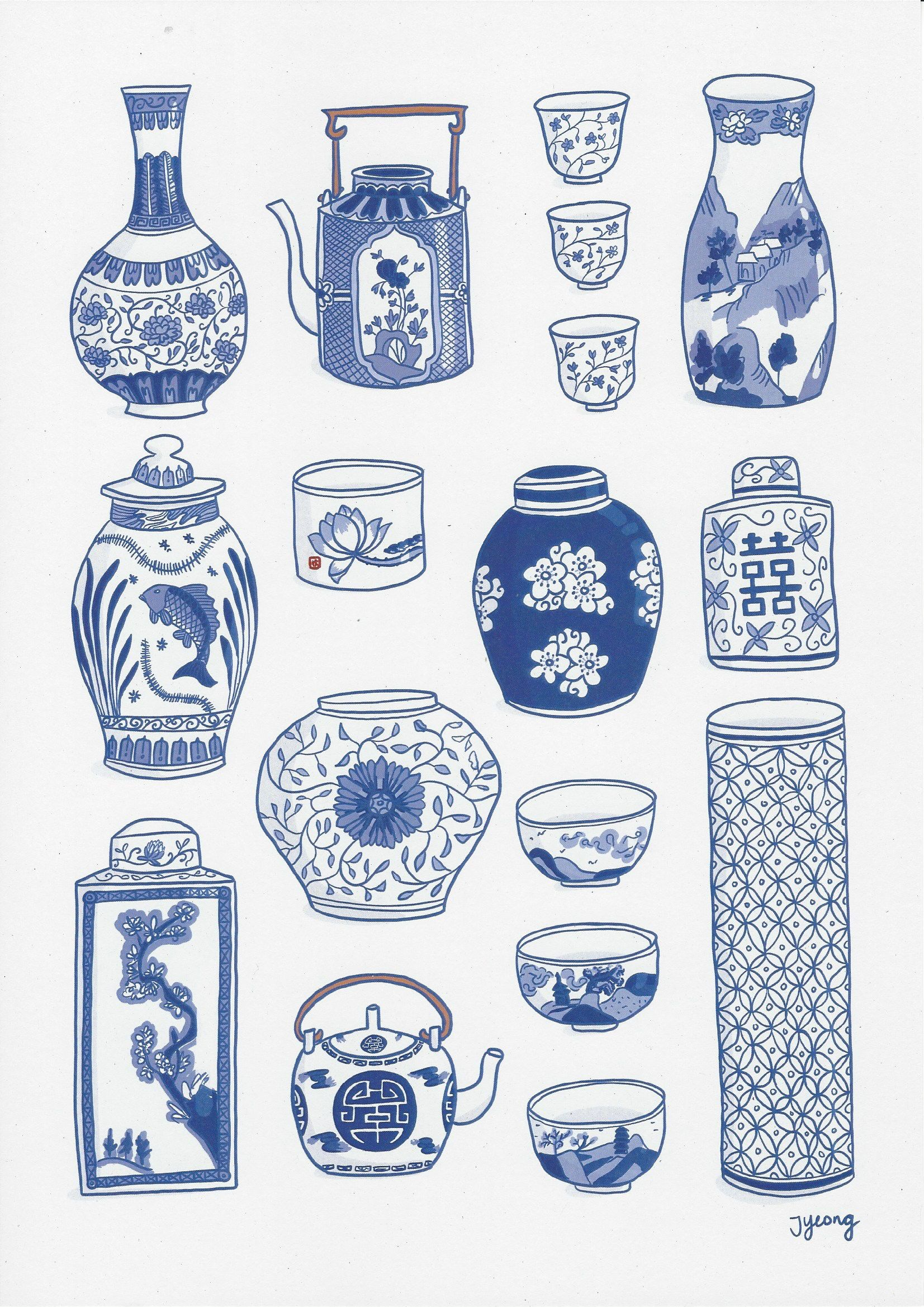 Blue and White Chinese Porcelain Collection Art Print A4