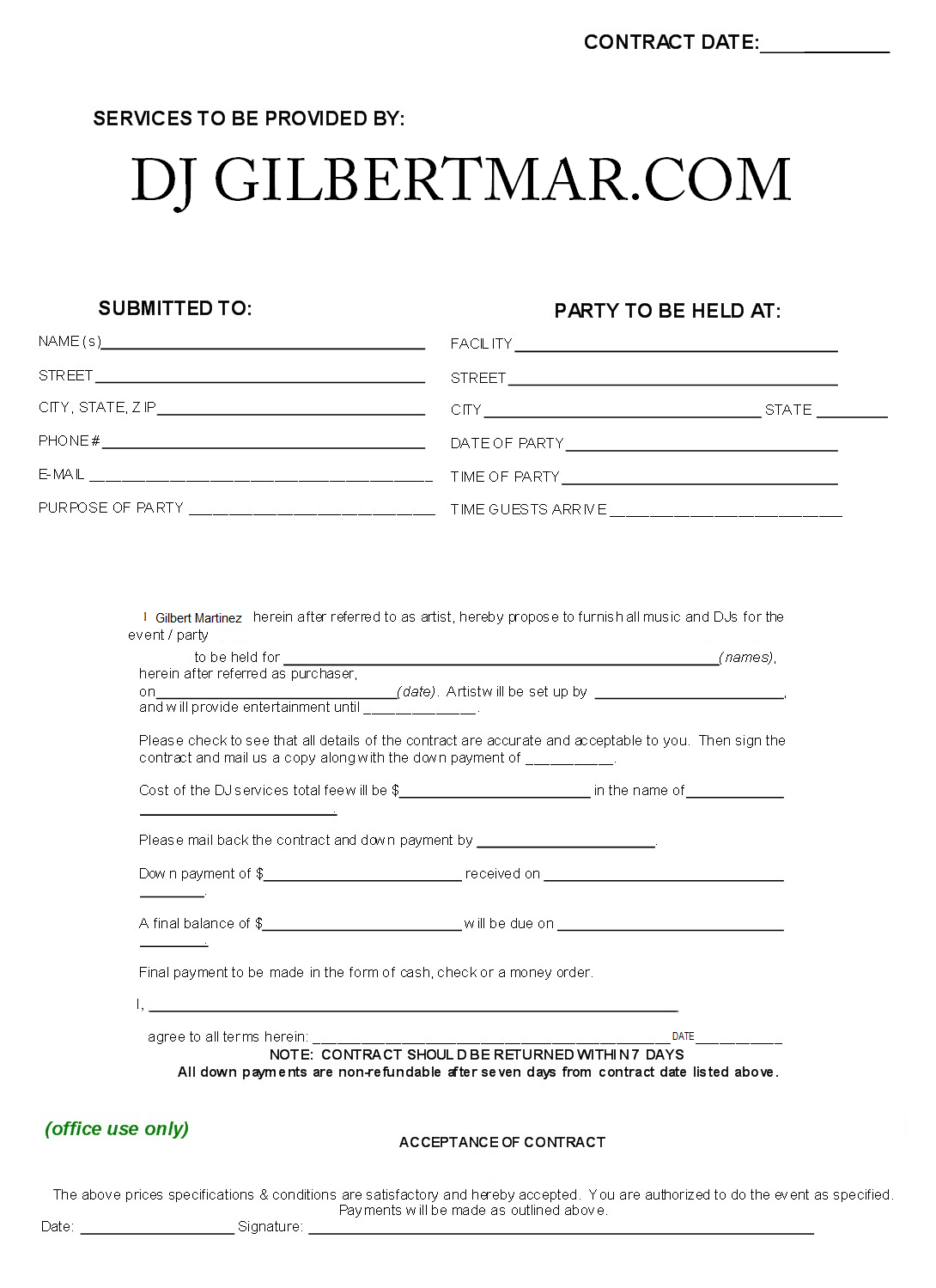 Dj Contract Template Non Compete Agreement Dj Contract Contract Template Dj Professional Templates