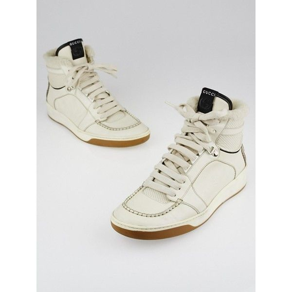 8b986955e18 Pre-owned Gucci White Leather Snakeskin GG High Top Sneakers ( 195) ❤ liked  on Polyvore featuring shoes