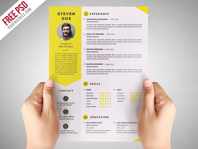 Clean Resume CV Template Free PSD Cv template, Resume cv and Psd - free resume templates to print