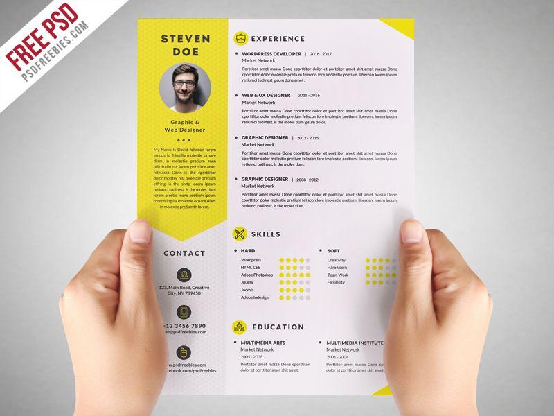Clean Resume Cv Template Free Psd Psdfreebies Com Desain Cv Desain Buku Cv Kreatif