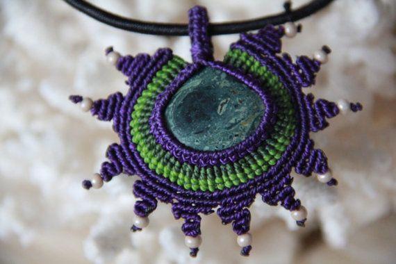 pendant with green kambala jasper and glass beads by veronikaindy