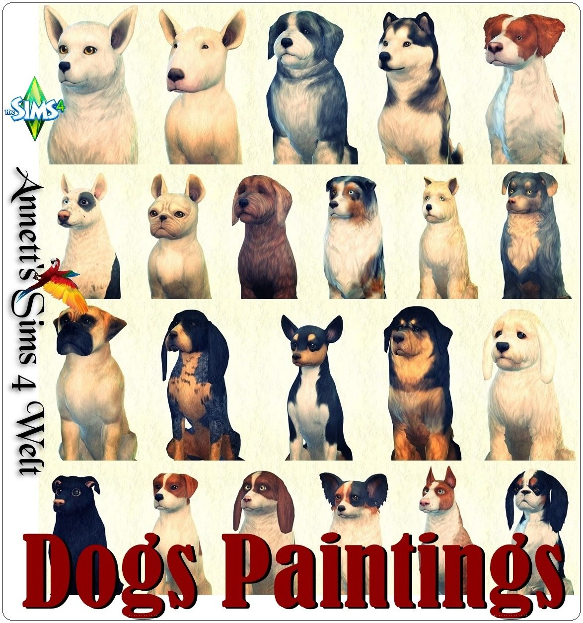 Dogs Paintings Sims 4 Pets Sims 4 Sims