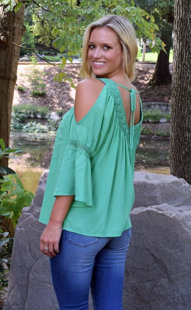 Green with Envy Peasant Blouse