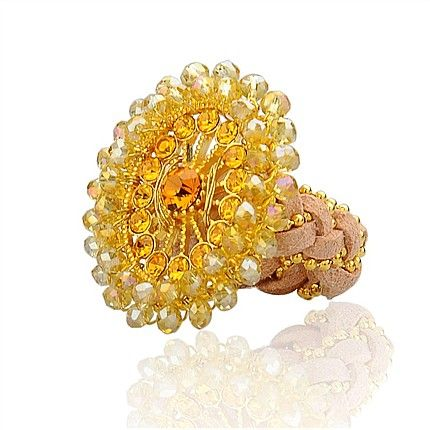 New Arrivals:  Alloy Rhinestone Rings, With Glass Beads, Faux Suede Cord And Iron Findings, Flower, LightYellow