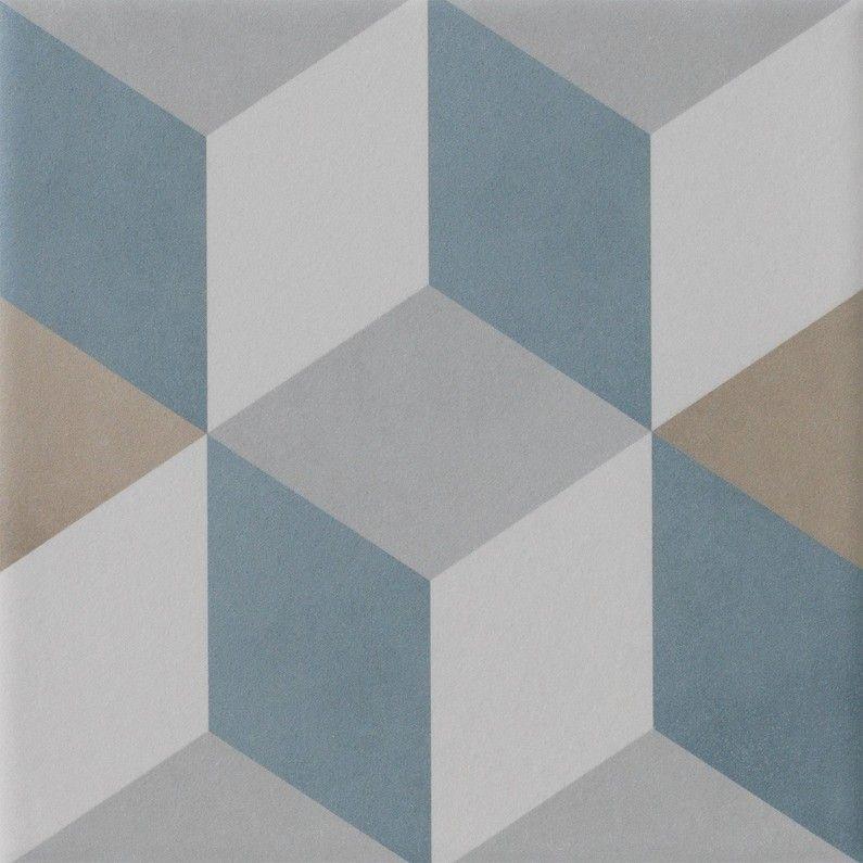 Carrelage Sol Mur Bleu Beige Effet Carreau De Ciment