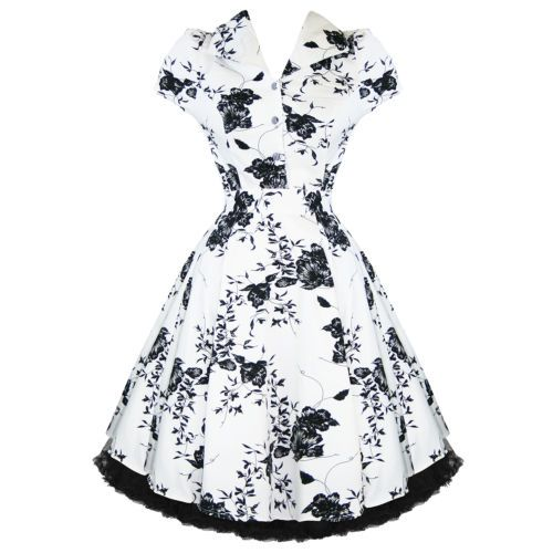 Ladies White Floral Vintage 50S Retro Rockabilly Party Prom Swing ...