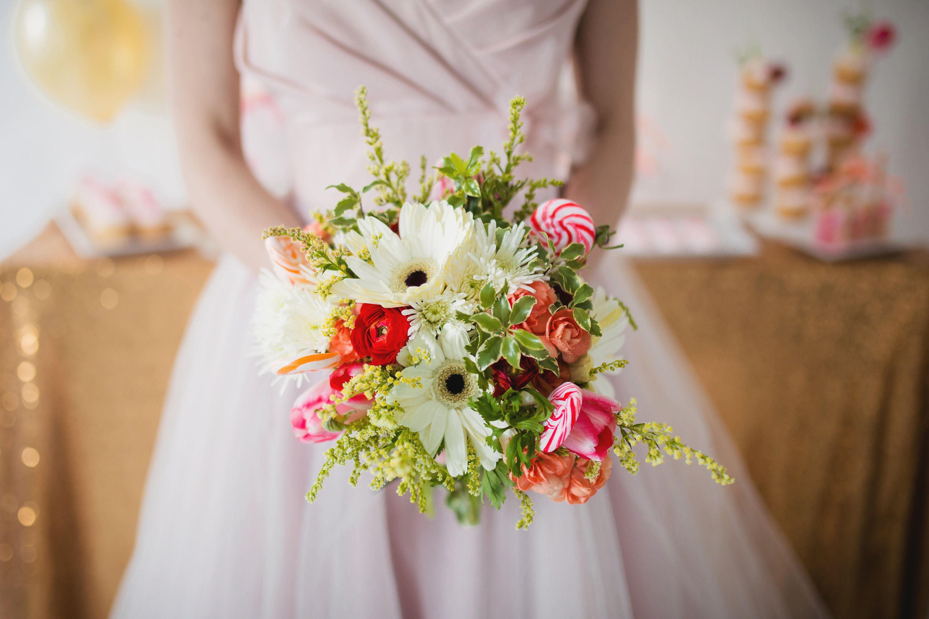 Bridal bouquet made with gerber daisies mini carnations
