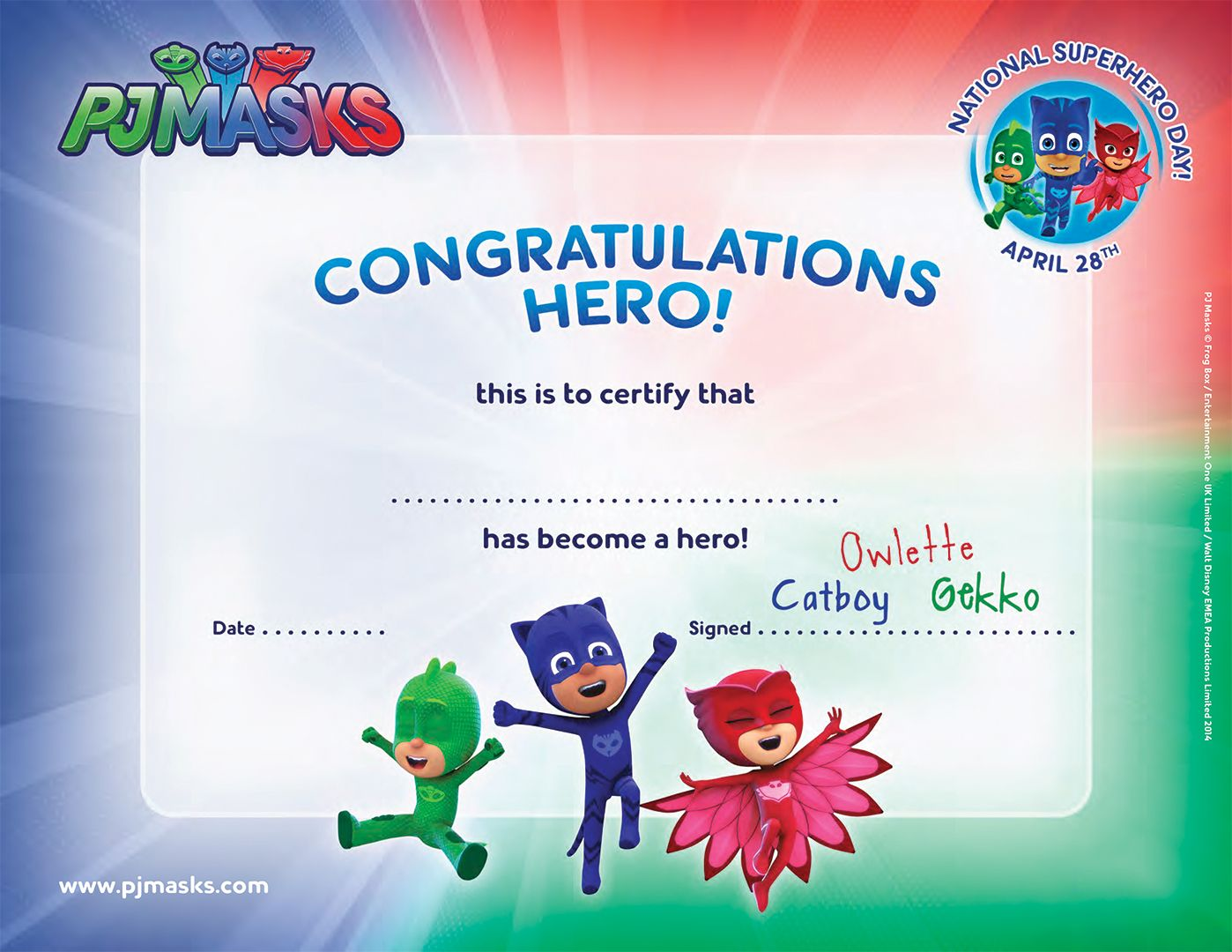 Create Your Own Super Hero Certificate Pjmasks