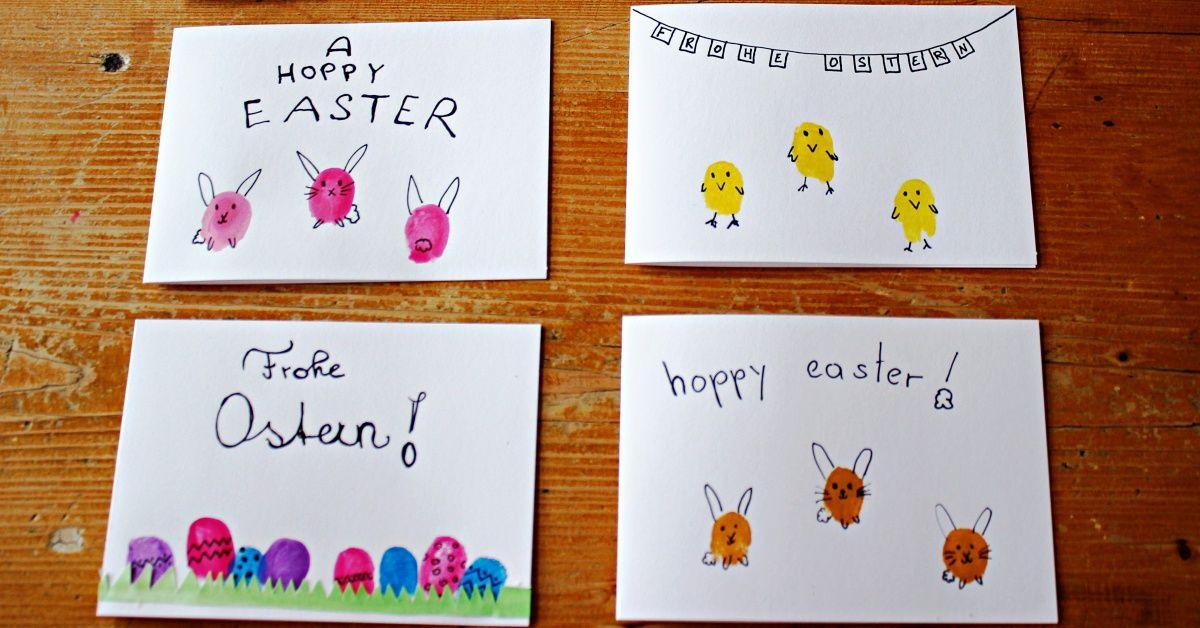 Osterkarten basteln - Fingerabdruck-Anleitung fürs Osterbasteln mit Kindern